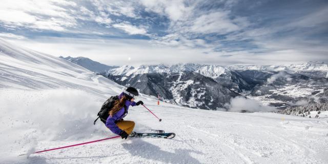Ski freeride en dessus de Verbier, dans la région de Fontanet.