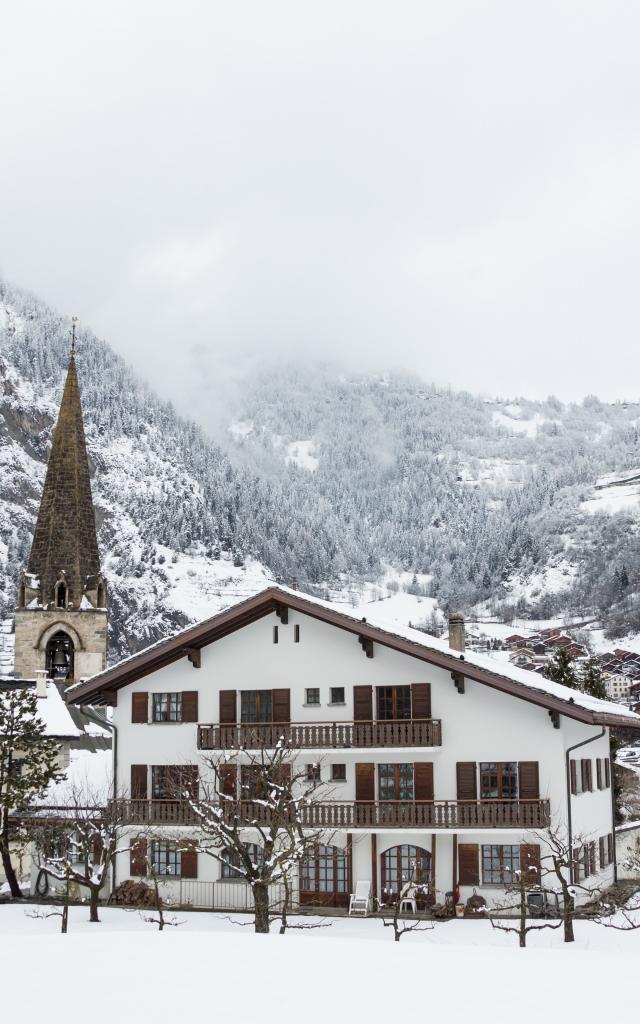 Village Le Châble sous la neige